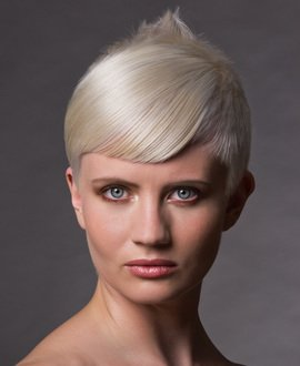 Round layered pixie cut